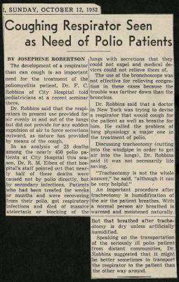 1952 article from the Cleveland Plain Dealer with Dr. Robbins.