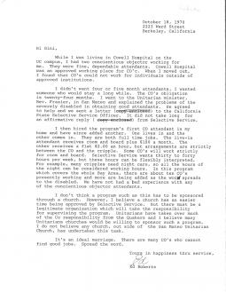 Follow-up letter from Ed Roberts describing the role of conscientious objectors