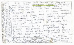 Postcard from Ed Roberts to PHI founder Gini Laurie describing conscientious obj