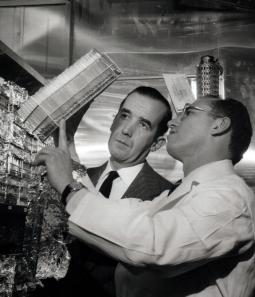Jonas Salk and Edward R. Murrow, Virus Research Lab, University of Pittsburgh, 1