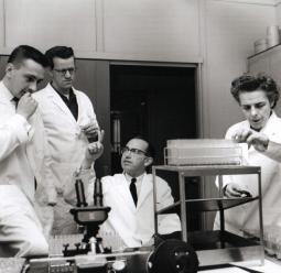 Jonas Salk and his staff in the Virus Research Lab, 1957